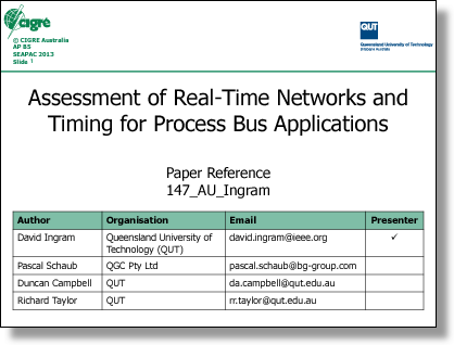 Assessment of Real-Time Networks and Timing for Process  Bus Applications